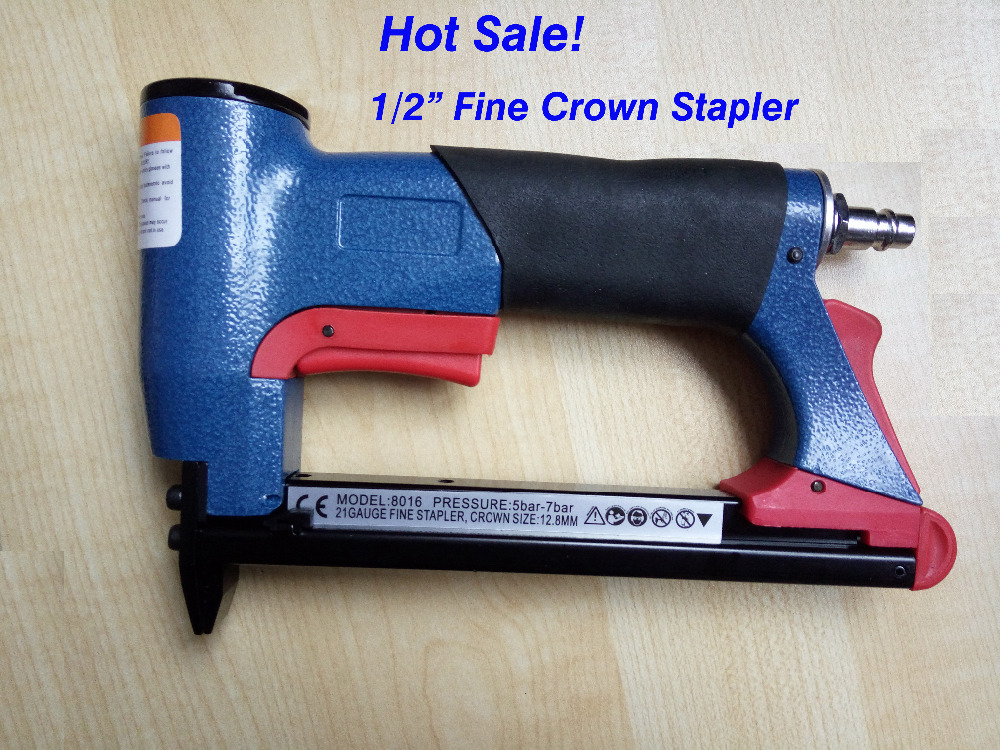 10pcs/lot whole sale to Russia only air stapler FS8016-B 1/2 pneumatic fine crown stapler, air staples U style nail comix durable 50 page 12 stapler w staples blue 3 pcs