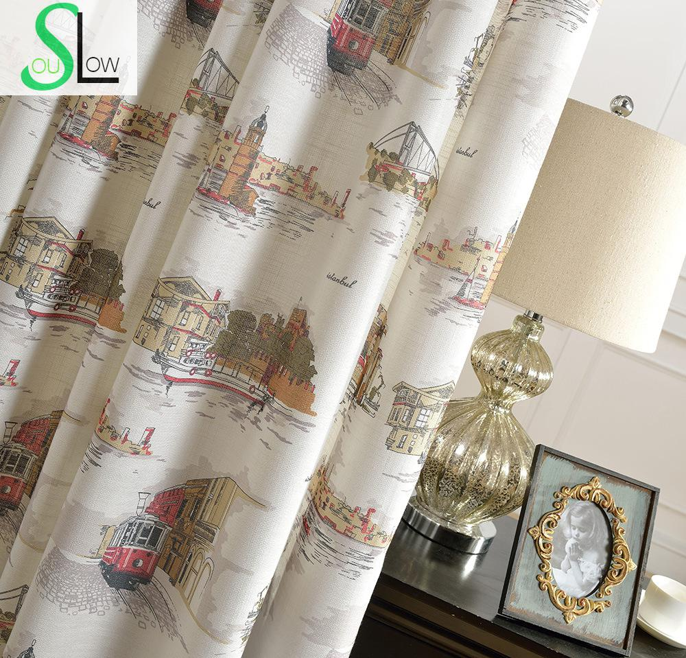 Printing Fabrics Series City Holiday Curtain Cartoon French Window Curtains Cortinas For Living Room Bedroom Kitchen