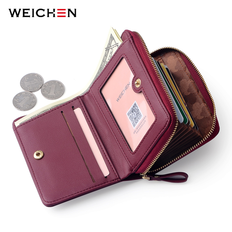 WEICHEN Large Capacity Women Card Wallet Zipper Concertine Fold Credit Card Holder Extendable ID Cards Purse Ladies Female Bags