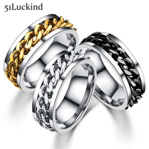 Fashion Stainless Steel Finger Rings Fancy Move Link Chain Male Spinner Ring For Men
