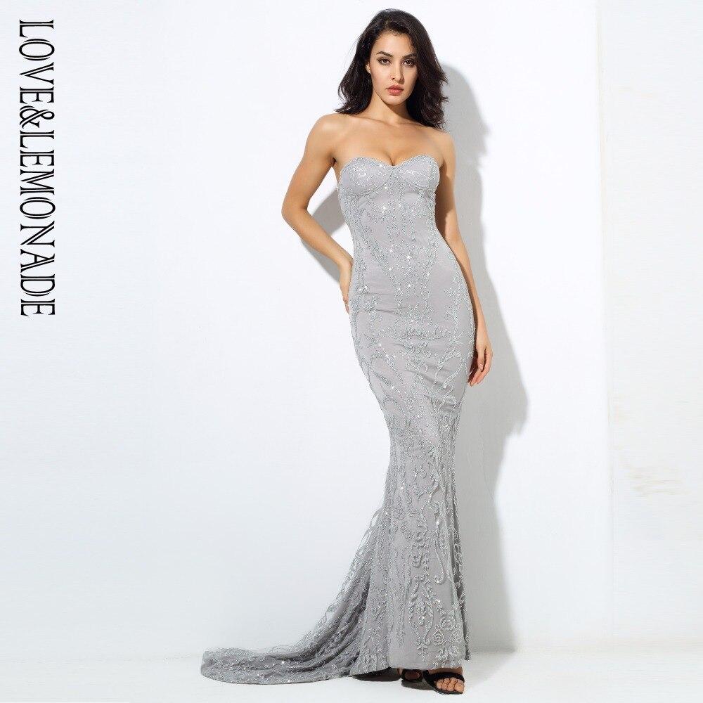 Vestido largo pintado con cuentas de vid de flores de simetría de amor y limonada plateado/gris LM0385-in Vestidos from Ropa de mujer    1