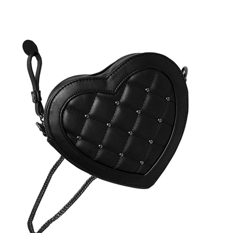 b14f16cc72c61d Fashion Rivet Diamond Lattice Black PU Leather Heart Shaped Shoulder  Messenger Bag Small Chain Sling Bag Crossbody Bags Women