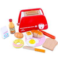 Wooden Pretend Play Kitchen Set Toys Simulation Toasters Bread Maker Food Set Game