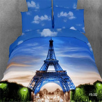 Eiffel Tower fabric 3D Oil Print 4pcs Bedding Sets Sheet set/Quilt Cover Full/Queen/King Size For Hotel
