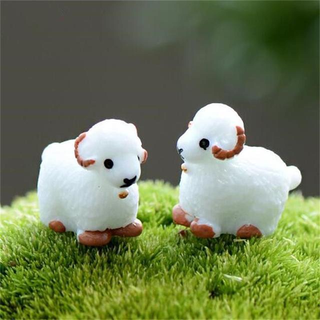 10Pc Swan Cute Rabbit Black Coal Micro Landscape Figures Moss Terrarium Fairy Garden Miniatures Home Decor