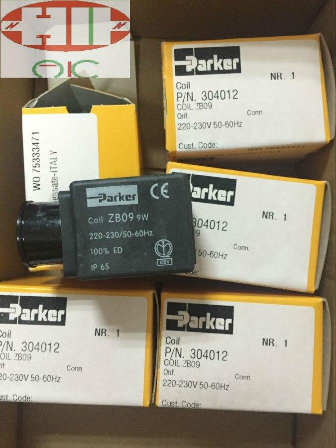 Genuine PARKER solenoid valve coil ZB09 DC24V or AC220V 1pcs skm5 automobile valve coil electrical solenoid valve coil dc24v voltage lead type valve coil sanmin