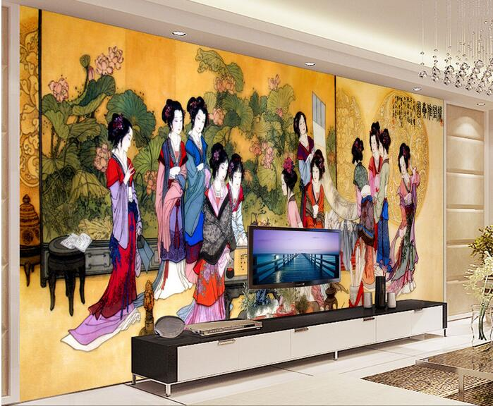 3d wallpaper custom mural non-woven 3d room wallpaper Chinese TV backdrop mural twelve women photo 3d wall murals wallpaper 3d photo wallpaper custom room mural non woven sticker retro style bookcase bookshelf painting sofa tv background wall wallpaper
