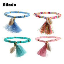 Ailodo Ethnic Tassel Seashell Bracelet Bohemian Colorful Polymer Clay Beaded Bracelets For Women Fashion Jewelry Gift LD181