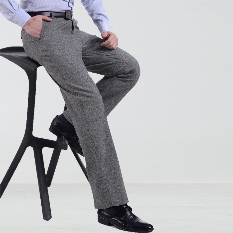 #2840 Summer Thin Formal Pants For Men High Waist Straight Suit Pants Plus Size