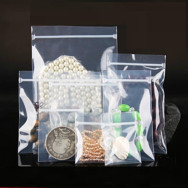 [4Y4A] 100pcs/Lot PPE jewelry bagthick ziplock bag Accept customized logo pack transparent
