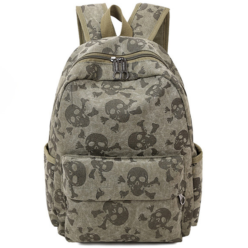 2017 Fashion Skull Women Canvas Backpacks School Bags for Teenagers Large Capacity Travel Backpack Bookbag Rucksack Mochila F086 candy color canvas double buckle backpack women bag large capacity men backpacks laptop school travel rucsack mochila computer