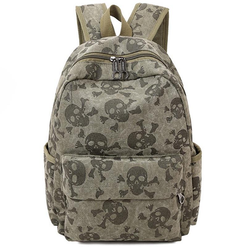 2017 Fashion Skull Women Canvas Backpacks School Bags for Teenagers Large Capacity Travel Backpack Bookbag Rucksack Mochila F086 women backpack school bags for teenagers women travel bags pouch printing backpacks famous brands student rucksack s17 05