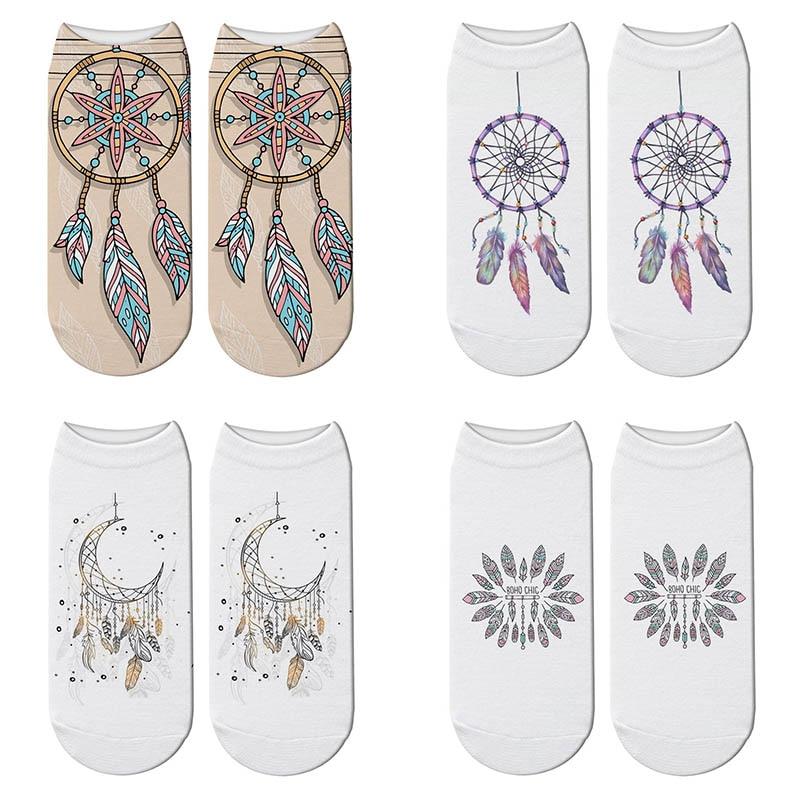 New 3D Printed Dreamcatcher Socks Women Cute Boho Wild Feather Short Socks Kawaii Wild Primitive Tribe Ankle Socks Dropship