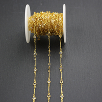 4mm,Wire Wrapped Golden Plated Copper Links Jewelry,Clear Glass Faceted Round Coin Shape Beads Chain Necklace,5Meters