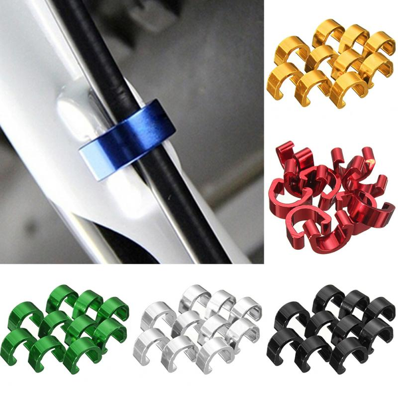 10PCS Bike Cable C-Clips Buckle MTB Bike BMX Brake Cable Deducation C-Clip Buckle Clamp Derailleur Shift Cable Housing Hose #125