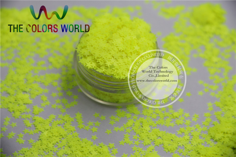 Solvent resistant Sparkles- Neon Yellow Color Stars-shaped Glitter Confetti for Nail Polish and DIY decoration 1Pack =50g nao for all we know neon yellow