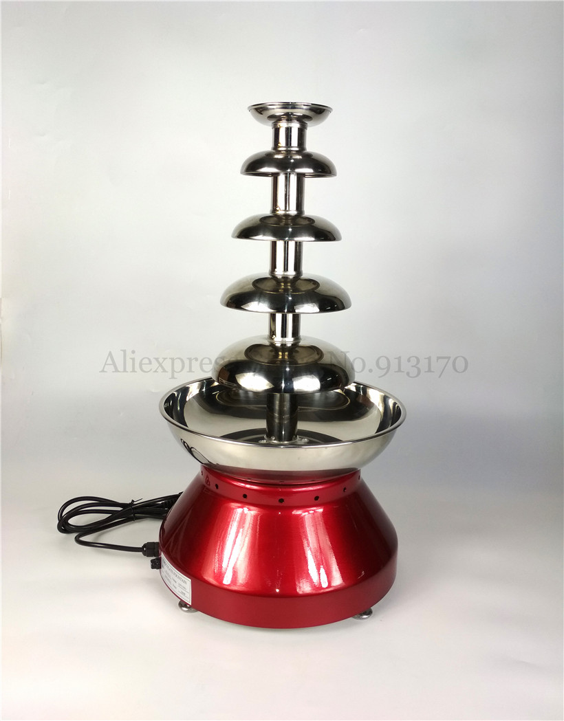 5 ярусов коммерческих Нержавеющаясталь новый роскошный шоколадное фондю фонтан цвет красного вина Цвет 230 Вт