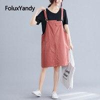 2 Pieces Overalls Dress Women Plus Size 3 4 5 6 XL Casual Spaghetti Strap Loose Summer Dress Vestidos NQYL122