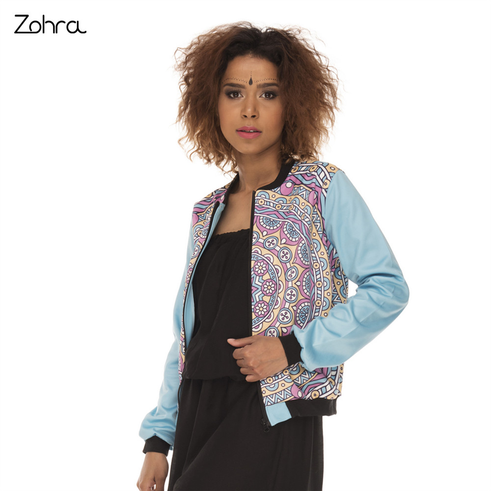 Zohra Fashion Cozy Women Bomber   Jacket   Mandala Simple Blue Printing Jaqueta Feminina Casual Slim   Basic     Jacket   for Woman