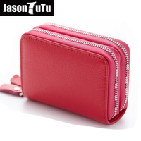 Coin Purses Unisex Genuine Cow Leather Double Layer Purse Fashion Women Card Holder Wallets short Zipper Credit Card Bags B374