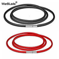 40-80cm 1-3mm Black Necklace Cord Leather Cord Wax Rope Chain 316L Stainless Steel Tube Clasp DIY Necklaces Jewelry Accessories