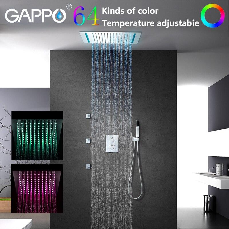 GAPPO robinets de douche salle de bains cascade robinet mélangeurs de douche mitigeur de bain LED ensemble de douche de pluie chuveiro do banheiro