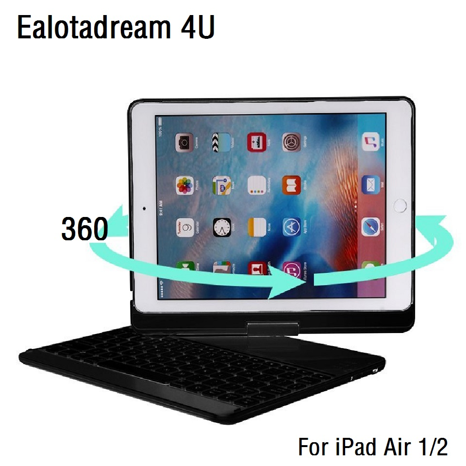 360 Degree Rotation For iPad Air 1 Air 2 Keyboard Case Wireless Bluetooth LED Backlit Funda for iPad Air 1 2 Keyboard Cover