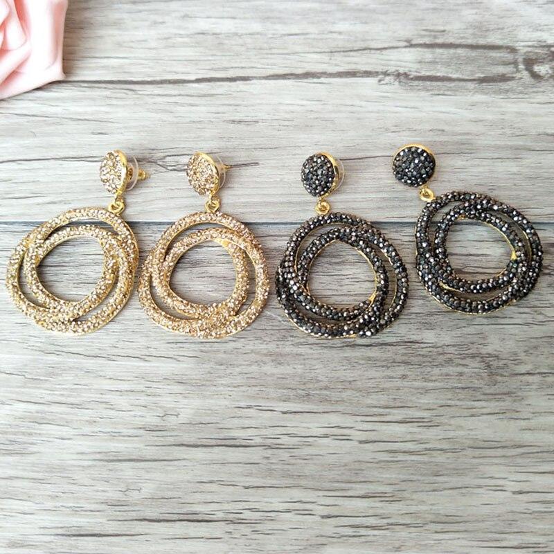 4 Pair Fashion Women Circle Flower Earrings With Rhinestone Paved Dangle Earrings Handmade Jewerly ER536
