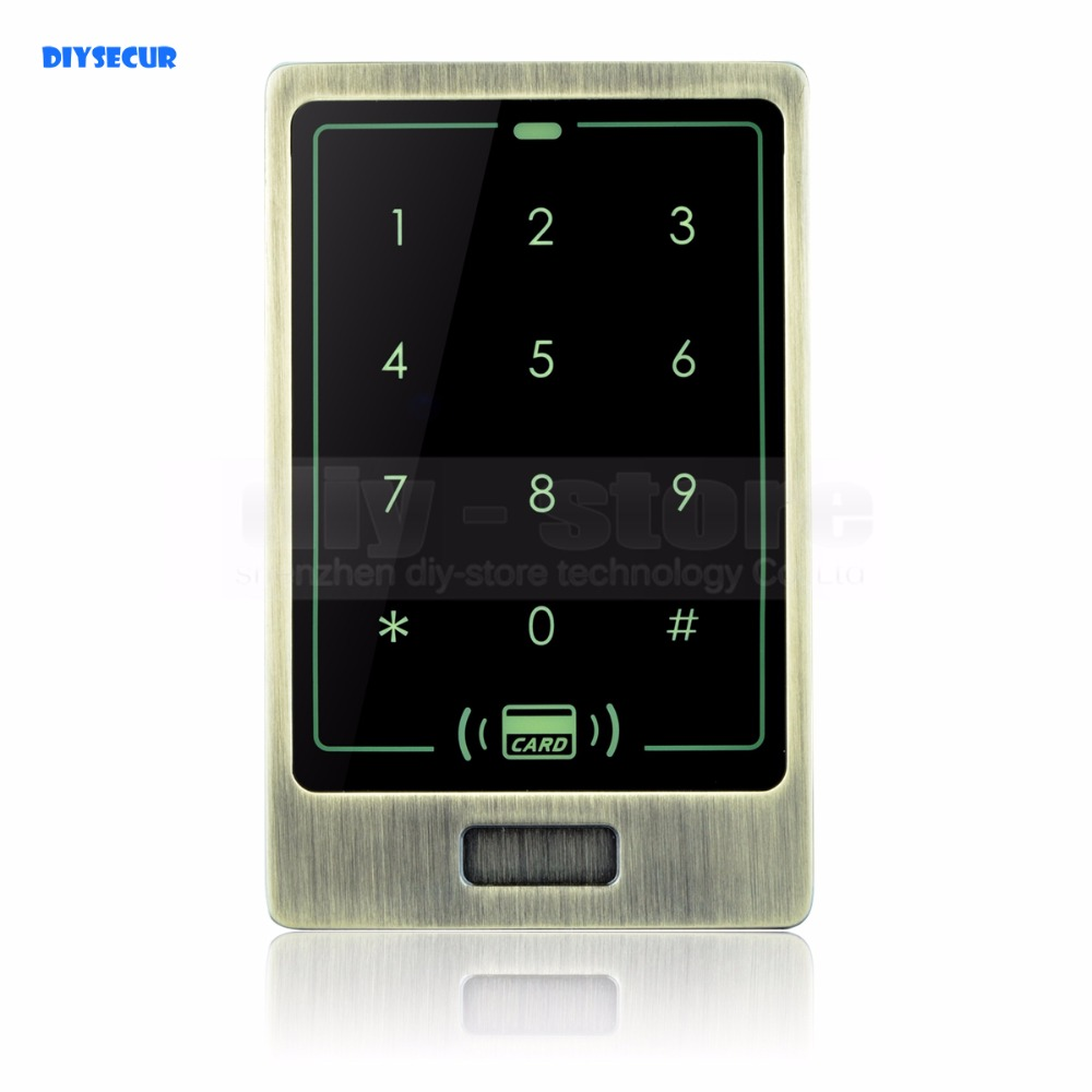 DIYSECUR Metal Case Touch Button 125KHz Rfid Card Reader Door Access Controller System Password Keypad C20 diysecur lcd 125khz rfid keypad password id card reader door access controller 10 free id key tag b100