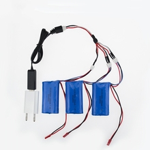 EU plug charger USB 1to3 cable 7.4V 1500Mah 18650 Battery Parts For MJX T40 T40C F39 F49 T39 Syma 822 RC Helicopter Wholesale