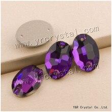 #3210 alle Größen Amethyst Flatback Nähen Auf Kristall Oval Strass Steine Nähen Kleidung Zubehör