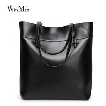 Luxury Brand Women Leather Casual Tote Bag Big Capacity Handbag For Mom Solid Top Handle Female Shoulder Bag Mother Bucket Bag