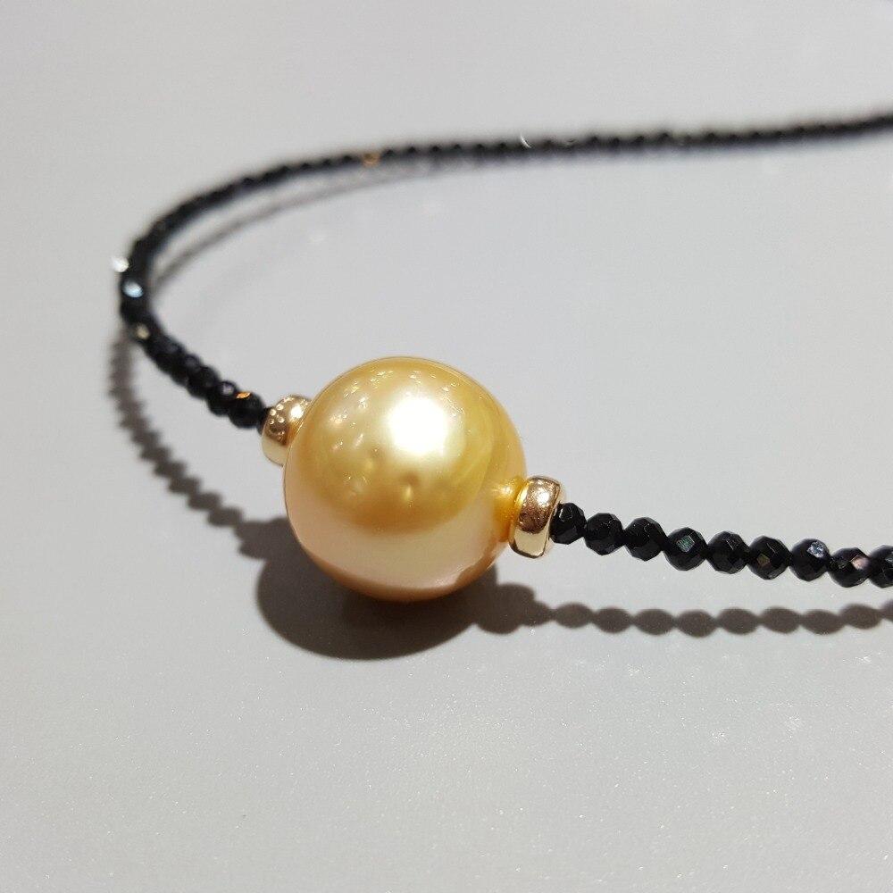 Lii Ji doré mer du sud perle noir spinelle collier 12 13mm vraie perle 925 Sterling argent 18 K plaqué or bijoux délicats-in Colliers from Bijoux et Accessoires    3