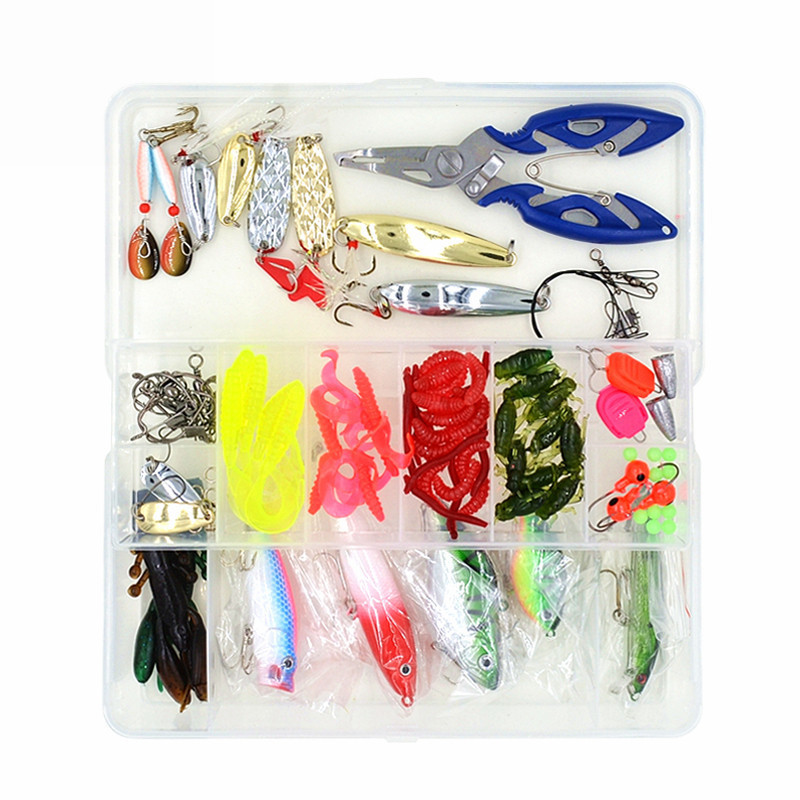 100 pcs/Box Complete <font><b>Fishing</b></font> Accessories Tackle Set Mixed Style <font><b>Fishing</b></font> Lures Hooks Sinker Beads Trace Wire Connector Scissors