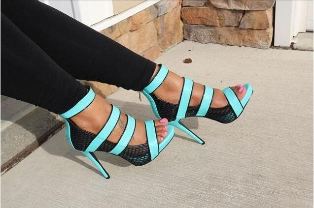Fashion Neon Straps Women Sexy Cut Out Sandals Open Toe Ladies Mesh High Heels Summer Hot Stiletto Zipper Back Dress Shoes цена