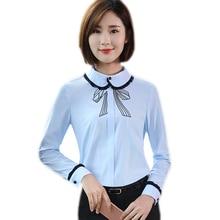 Nieuwe herfst mode vrouwen kleding slim shirt OL formele lange mouwen  chiffon blouses elegante kantoor dames plus size werkkledi. 6f49b283f239