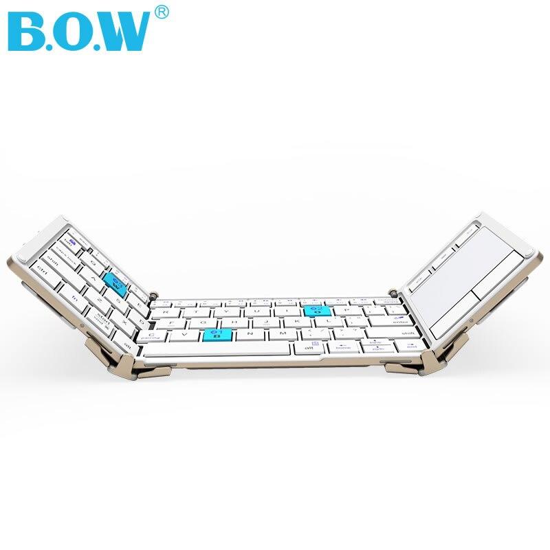 BOW Tri-pliage Universel Sans Fil clavier avec Touchpad, Ultra Mince Bluetooth Clavier + En Alliage D'aluminium + Étui de Transport