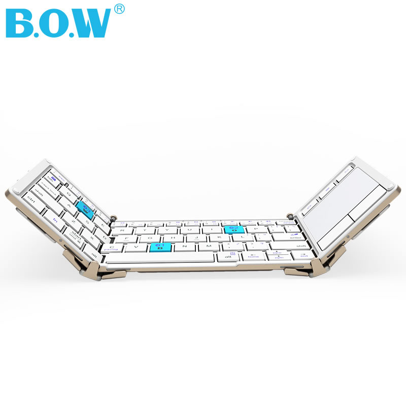 Clavier sans fil universel Tri-pliant B.O.W avec pavé tactile, clavier Bluetooth Ultra mince + alliage d'aluminium + pochette de transport