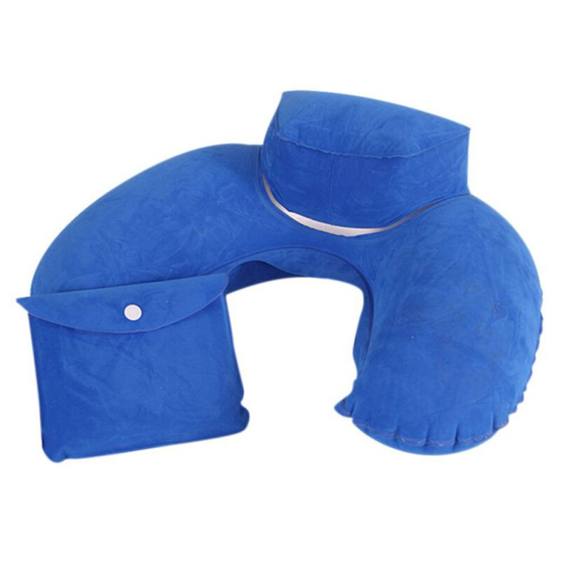air pillow inflatable ushape neck blow up cushion pvc flocking folding traveling office plane