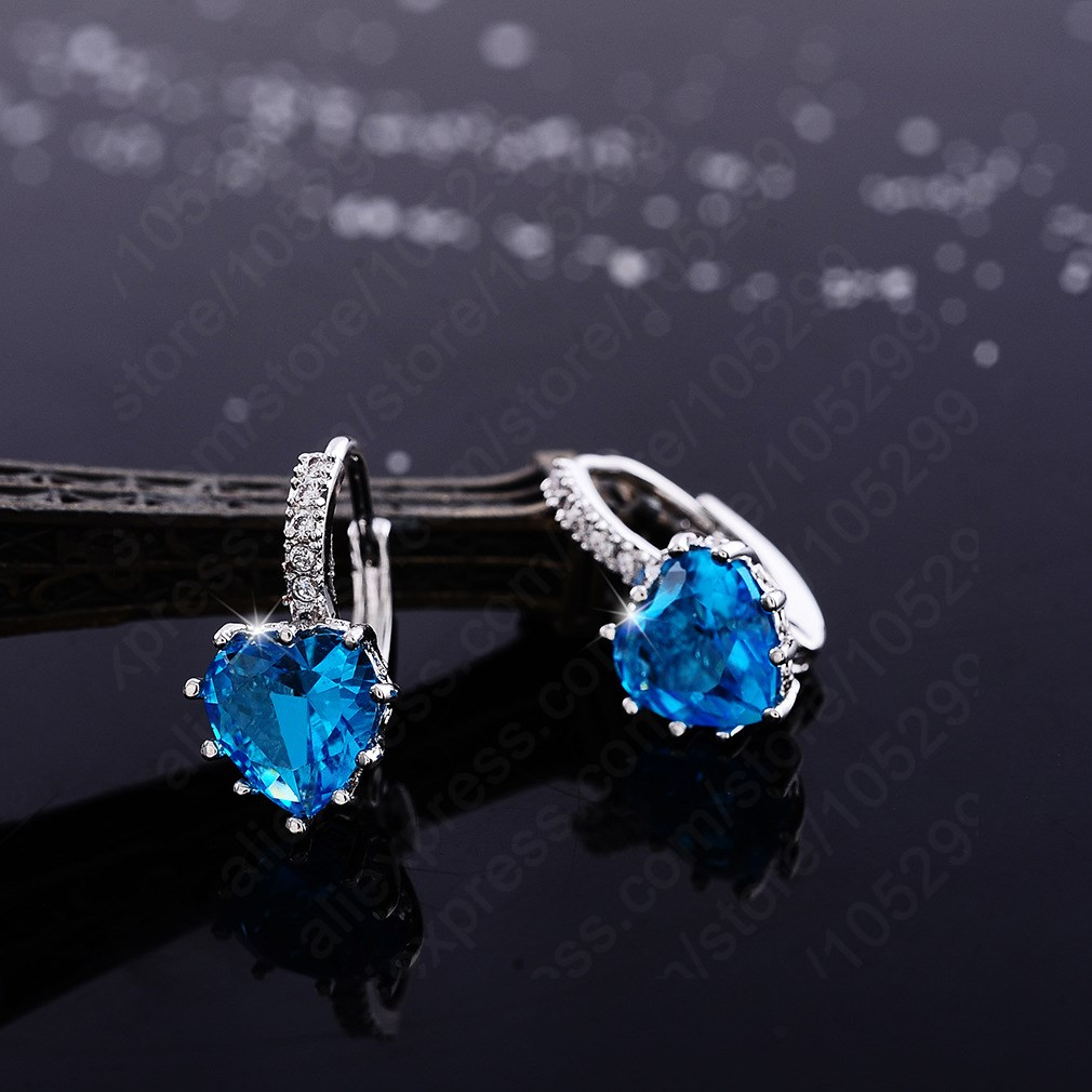 Luxury Colorful Heart Band Pure 925 Sterling Silver Fine Jewelry Cubic Zirconia Stone Stud Earrings For