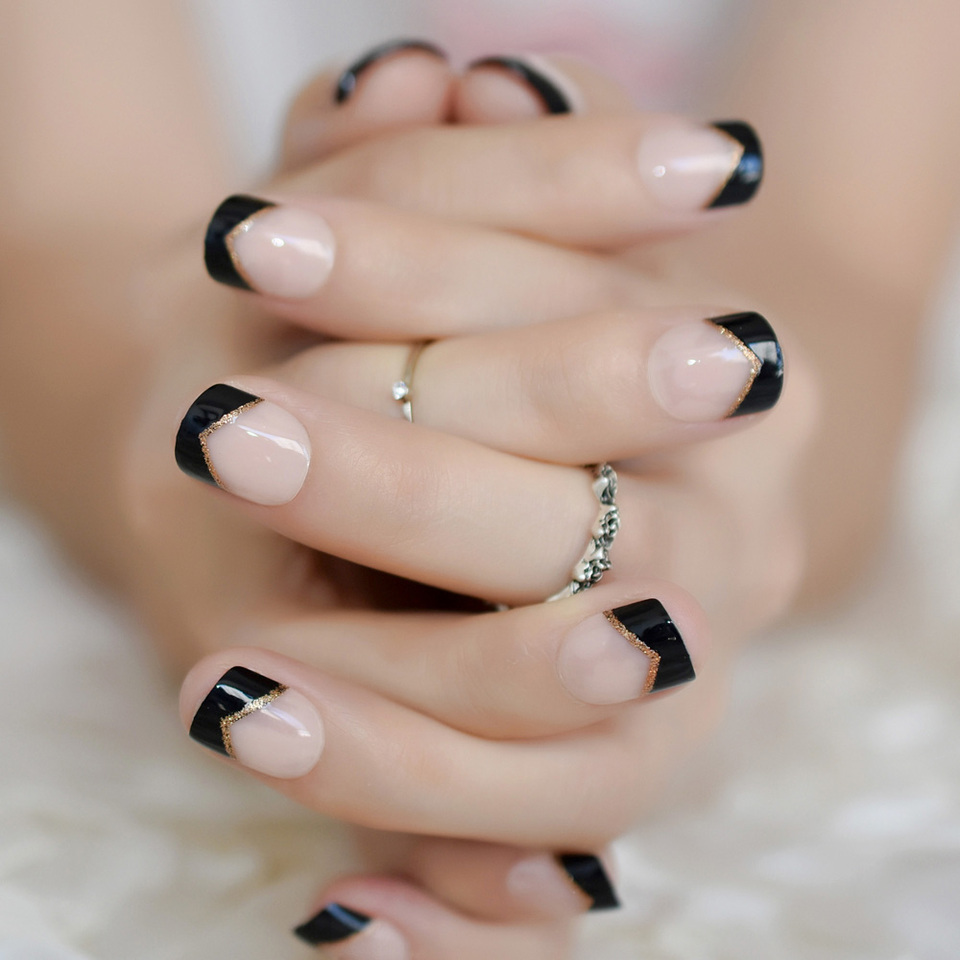 Uña Francesa Corta Gel Uv Puntas Negras Brillo Dorado ángulo Decorado Uñas Postizas Naturales Para Mujer Con Pestañas Adhesivas