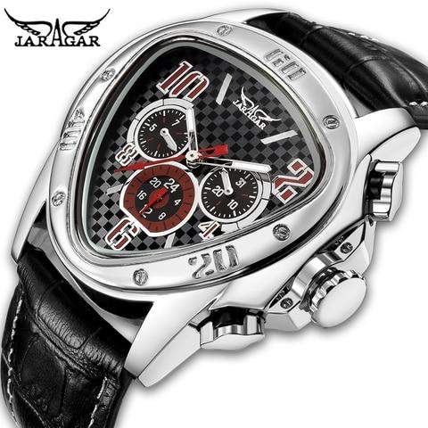 Design de Corrida Pulseira de Couro Relógio de Pulso Jaragar Esporte Masculino Relógios Triângulo Geométrico Relógio Genuíno Automático
