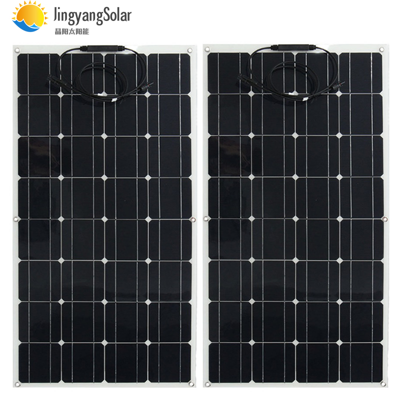200w Solar Panel 2pcs 100w 12V 24V Semi flexible solar panel 32pcs monocrystalline solar cell 300w