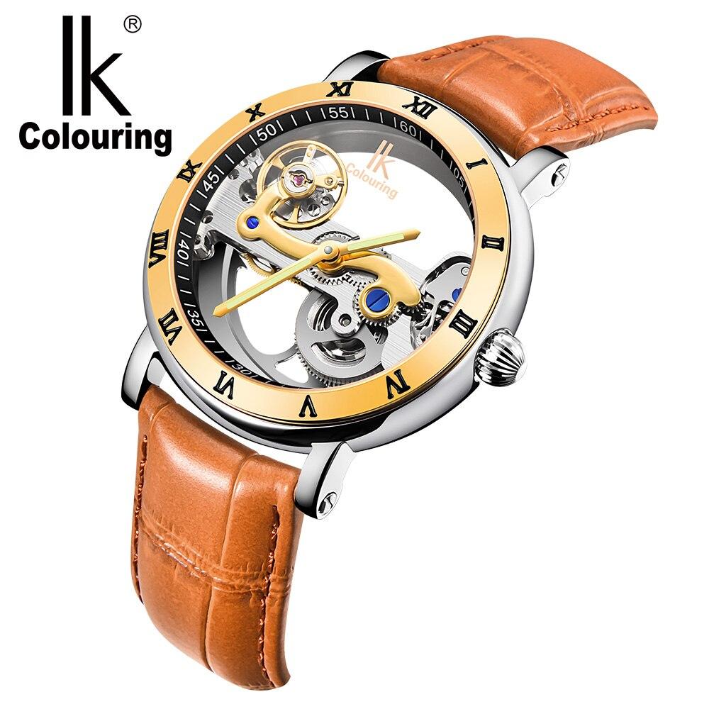 Drop Shipping Male Mechanical Wrist Watches Automatic Mechanical Clock Men Leather Strap Bridge Shape Wristwatch Horloges Mannen