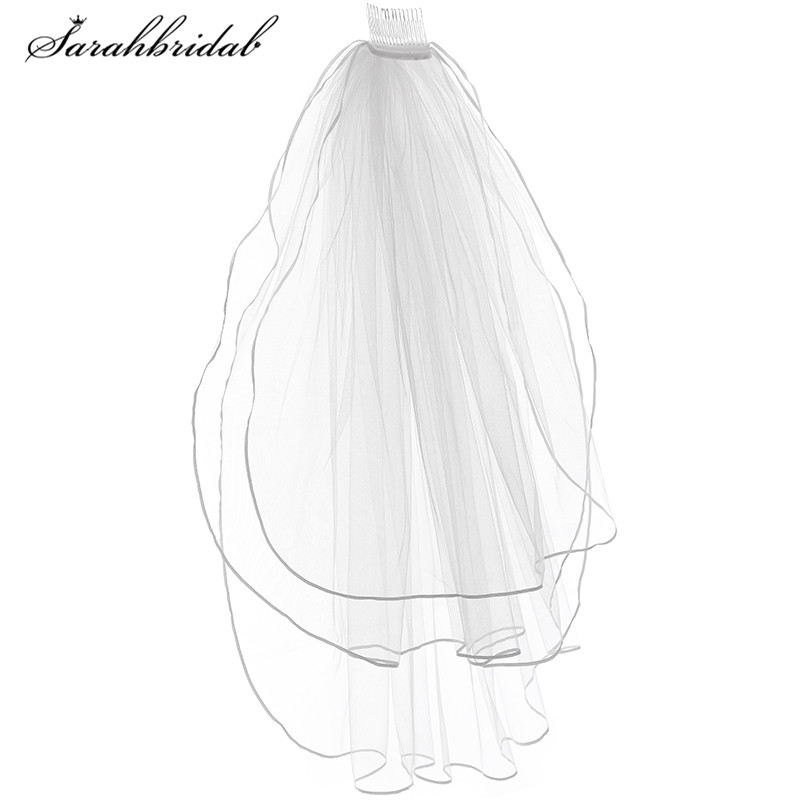 Hot Sale 4 Colors Bridal Veils With Comb 3T Tulle Ribbon Edge Wedding Accessories Shoulder Length Veils Adult In Stock 11054