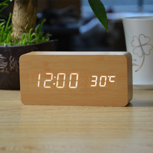 Wooden Led Alarm Clocks with Thermometer