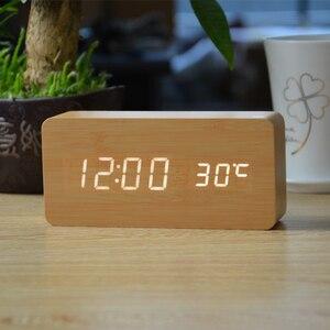 Image 4 - منبهات FiBiSonic مع ميزان الحرارة ، ساعات خشبية Led خشبية ، ساعة طاولة رقمية ، ساعات إلكترونية بتكلفة