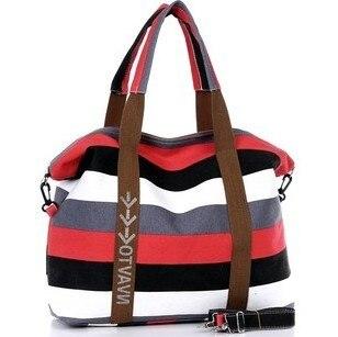 Women's Canvas Slung Women's Shoulder Bag Ladies Beach Handbags Striped Shopping Bag 4