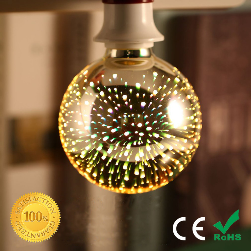 Led Light Bulb 3D Decoration Bulb E27 4W 200-240V Holiday Lights ST64 G95 G80 G125 A60 N ...