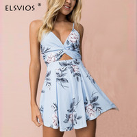 ELSVIOS Fashion Floral Printed Spaghetti Strap Playsuits Women V Neck Bow Knot Sexy Summer Beach Rompers